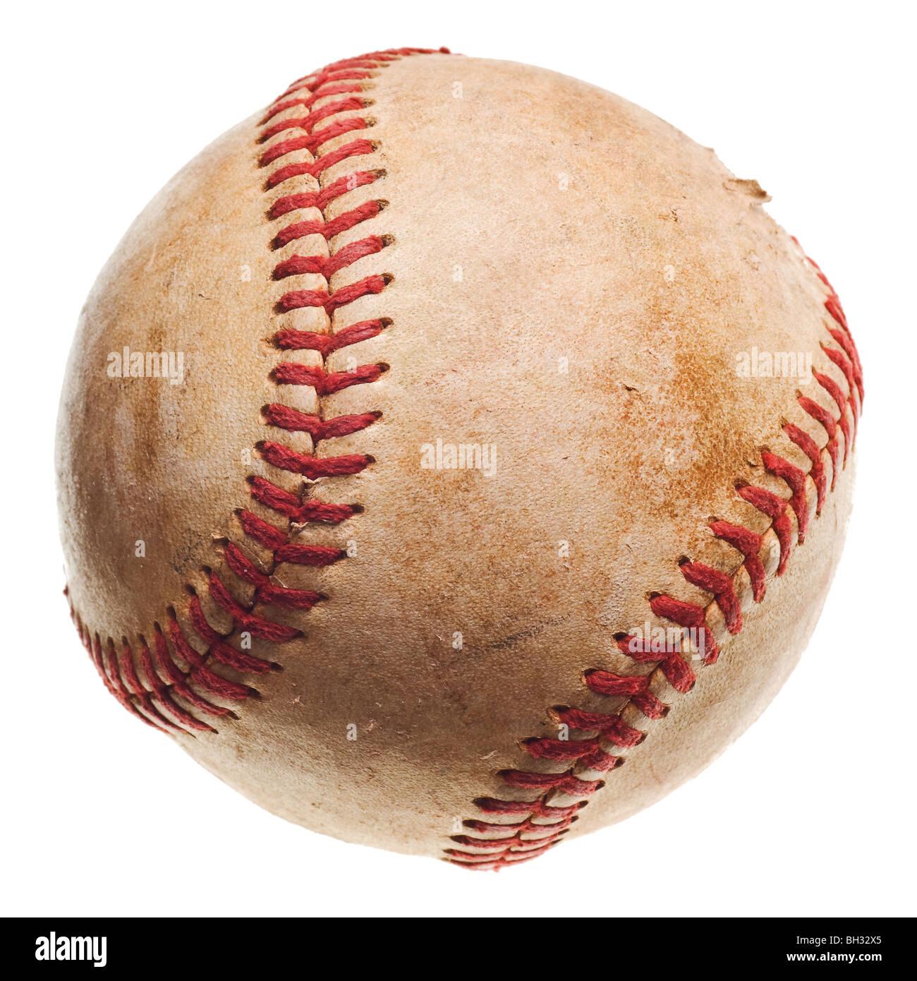 Il baseball con impunture rosse baseball isolati su sfondo bianco Immagini Stock