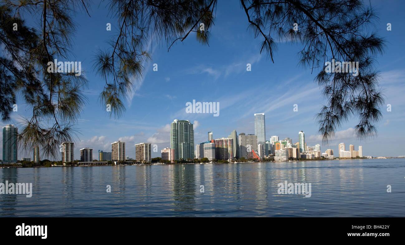 La skyline di Miami, Miami, Florida Immagini Stock