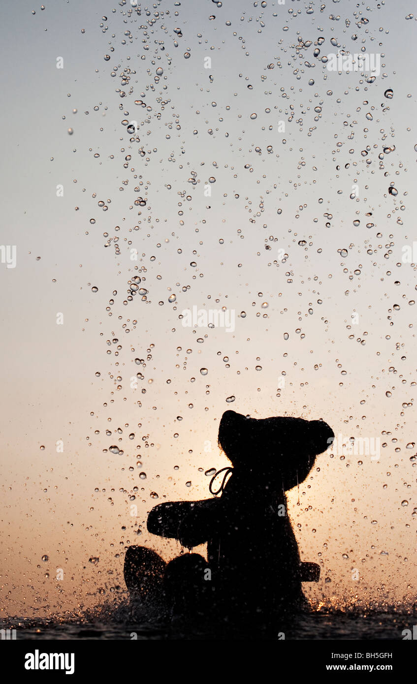 Orsacchiotto di peluche la cattura di gocce di acqua silhouette Immagini Stock