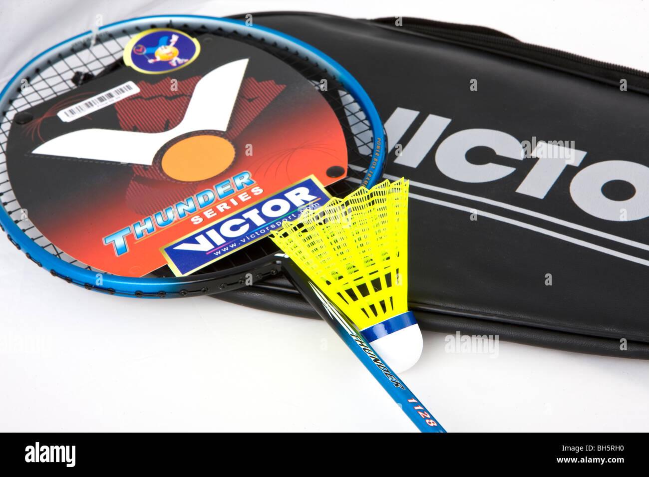 Badminton racchetta e volano nuovo di zecca Immagini Stock