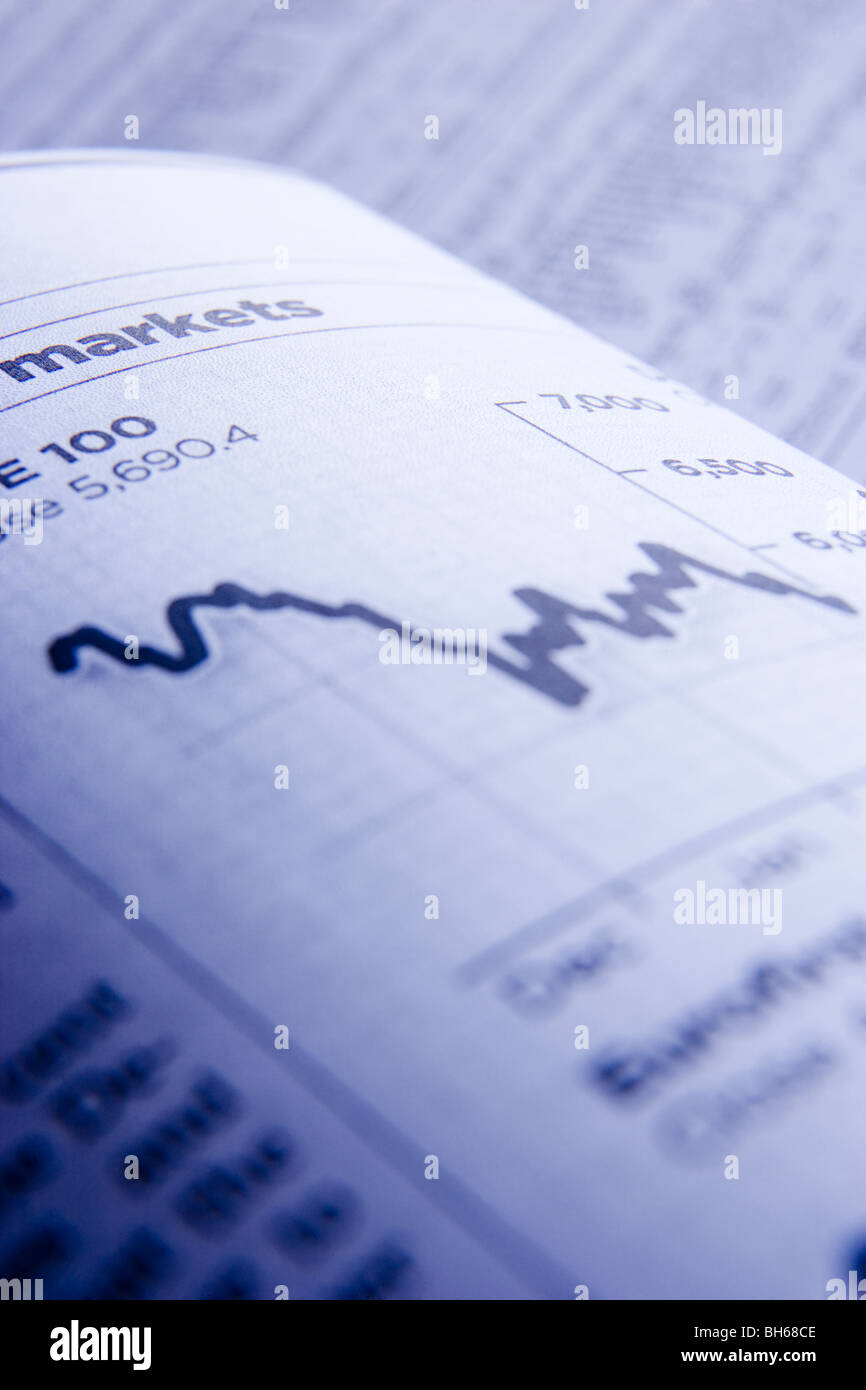 Grafico che mostra il calo dei prezzi dei titoli azionari Immagini Stock