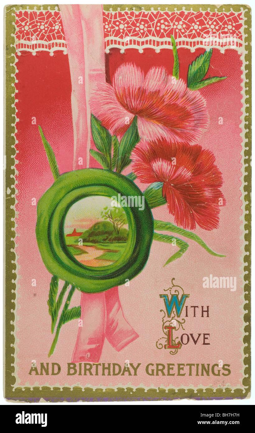 Vintage Gli Auguri Di Buon Compleanno Cartolina Con Fiori Di Colore