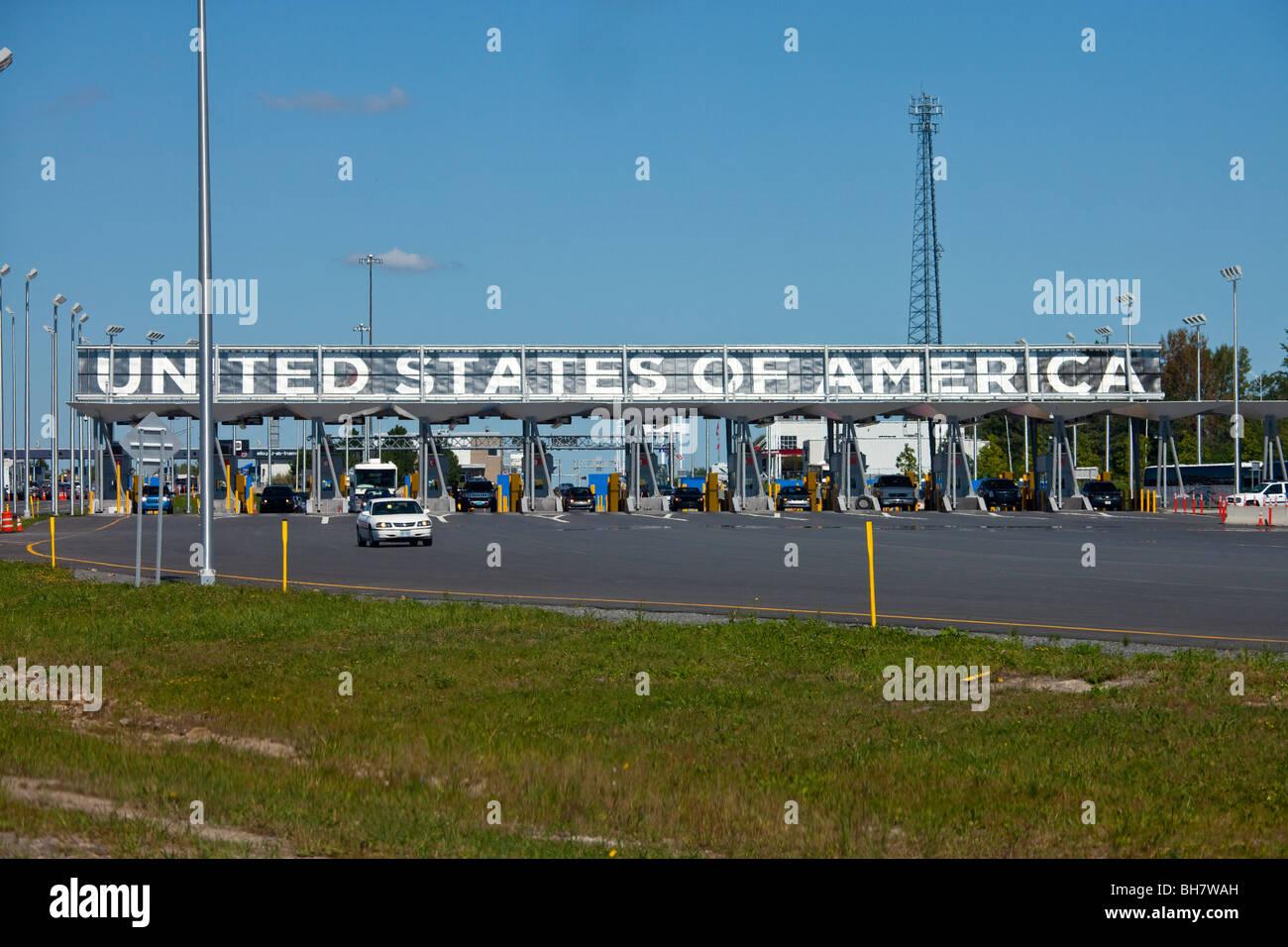 Champlain di frontiera tra gli Stati Uniti e il Canada Immagini Stock