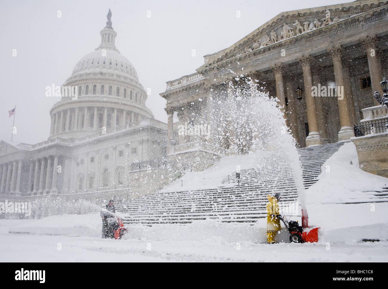 Scene di neve intorno agli Stati Uniti Campidoglio Foto Stock