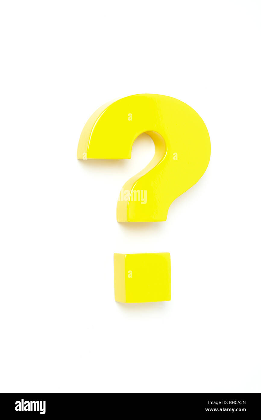 Punto interrogativo giallo, girato da sopra a sinistra Immagini Stock