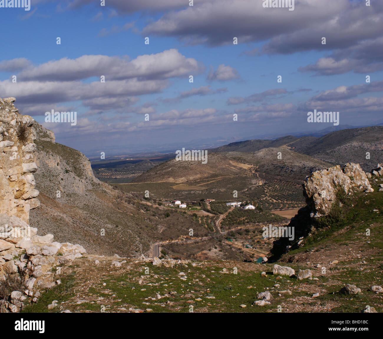 Panorama da TEBA torre di castello in Andalusia Spagna Immagini Stock