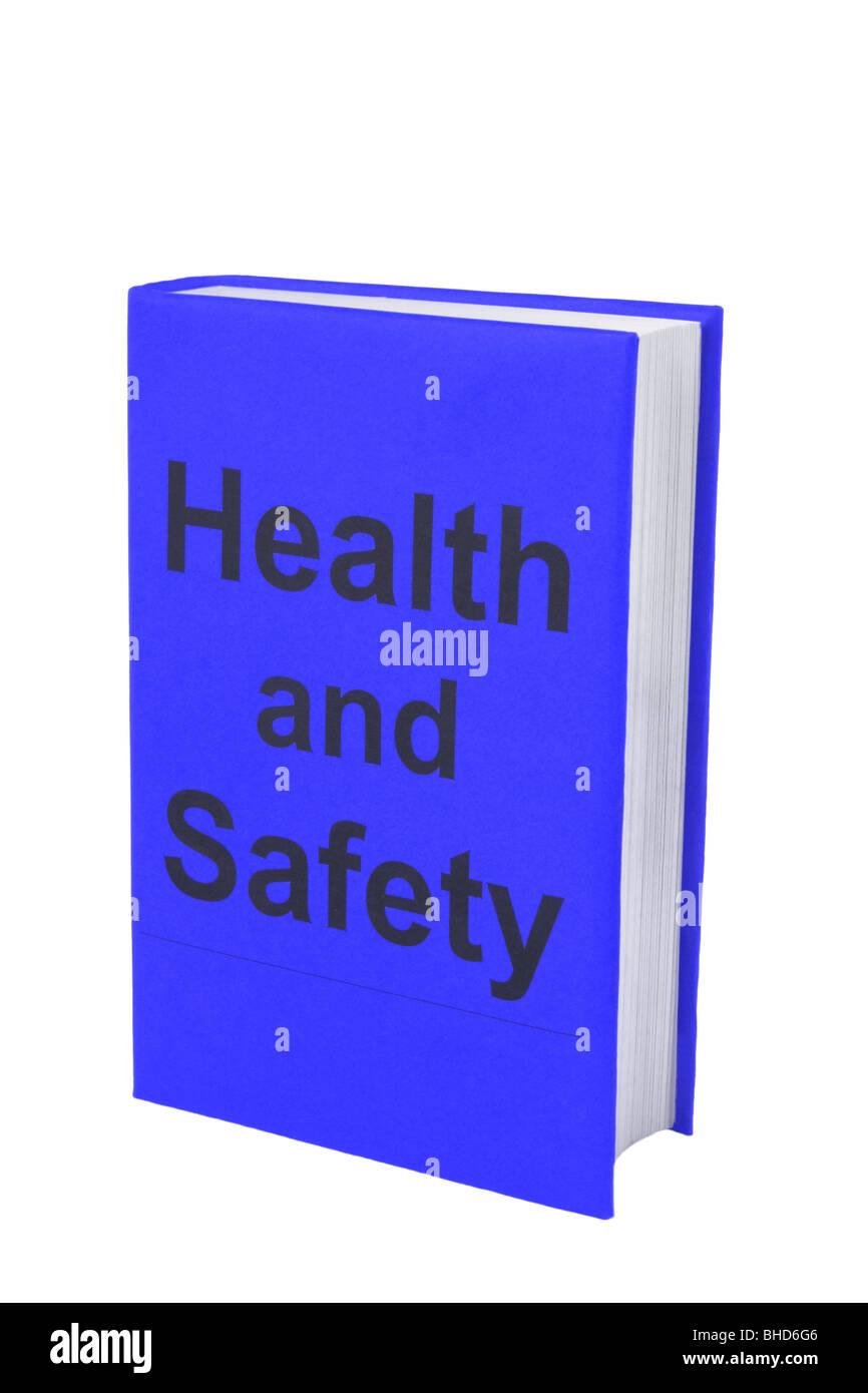 Prenota con parole di salute e di sicurezza sul coperchio blu. Immagini Stock