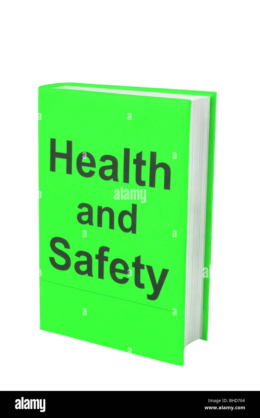 Prenota con parole di salute e di sicurezza sul coperchio verde. Immagini Stock