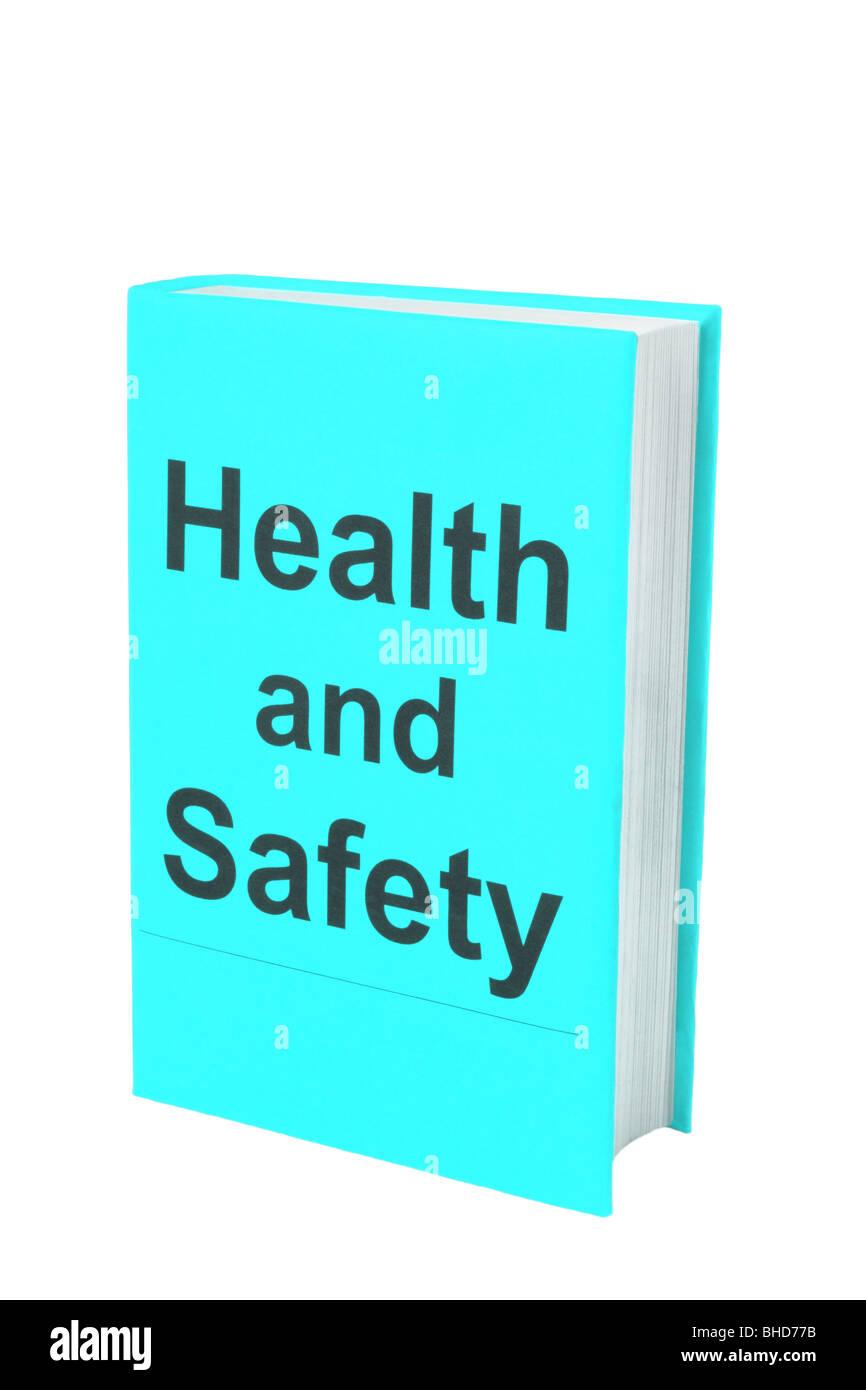 Prenota con parole la salute e la sicurezza sul blu pallido coperchio. Immagini Stock