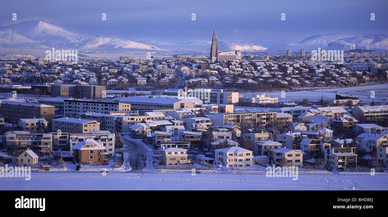Inverno, Reykjavik Islanda Immagini Stock