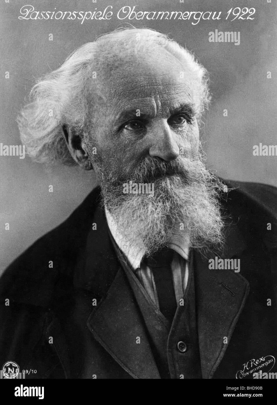 Breitsamter, Gregor, attore, la Rappresentazione della Passione a Oberammergau 1922 (gioca il ruolo di Erode il Immagini Stock