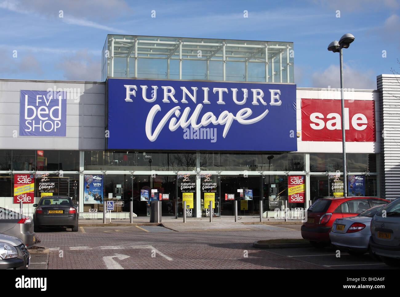Un villaggio di mobili retail outlet su un retail park a Nottingham, Inghilterra, Regno Unito Immagini Stock