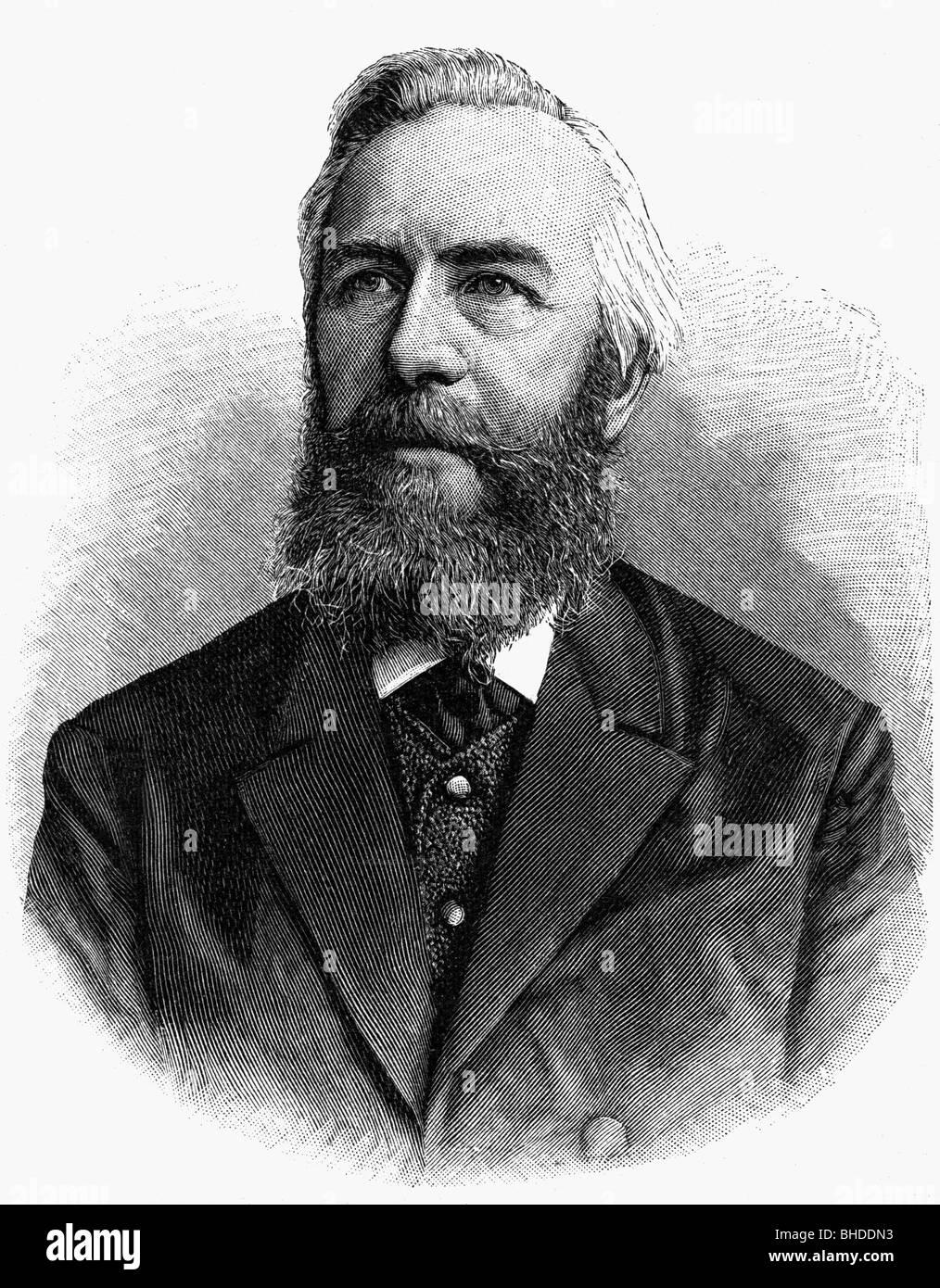 Haeckel, Ernst, 16.2.1834 - 9.8.1919, tedesco scienziato naturale, ritratto, incisione su legno, Additional-Rights Immagini Stock