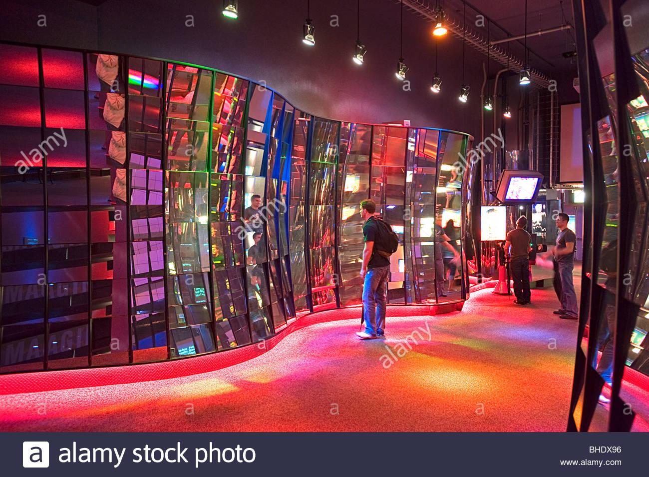 Specchio sperimentale camera presso il Museo della Scienza e dell'industria. Chicago, Illinois, Stati Uniti Immagini Stock