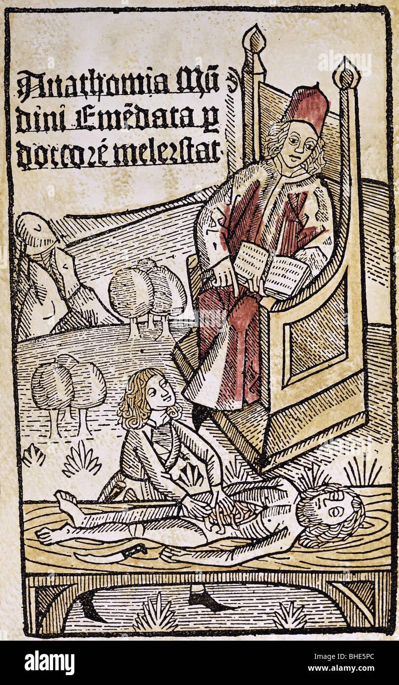 Medicina, anatomia, dissezione / autopsia, xilografia, colorata, da 'Anatomia', da Mondino dei Liucci (circa Immagini Stock