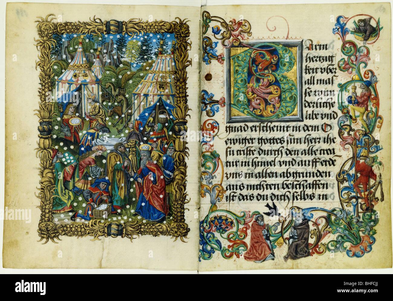La religione, il cristianesimo, libri, Libro d Ore, doppia pagina, Germania, inizi del XVI secolo, Augsburg Biblioteca Immagini Stock