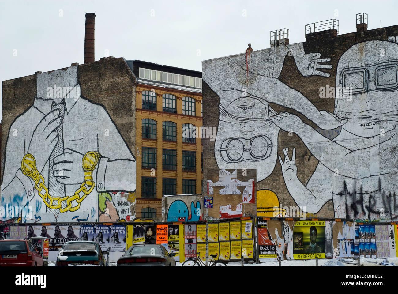 Graffiti a parete nel lato East Berlin Germania Europa Immagini Stock