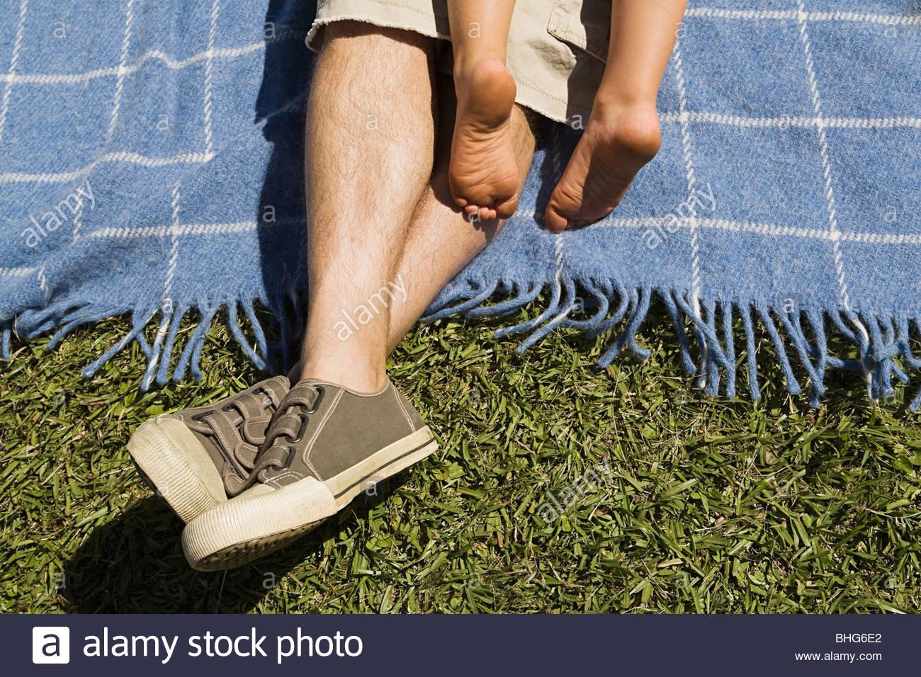 Bassa vista in sezione dell'uomo e ragazzo rilassante sulla coperta picnic Immagini Stock