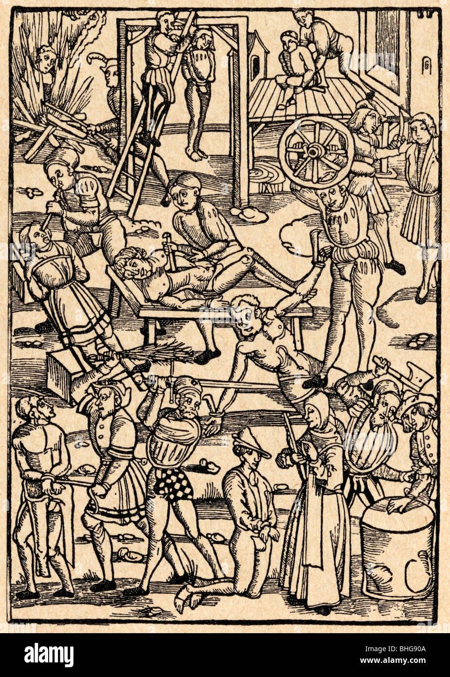 La tortura e i metodi di esecuzione nel Medioevo. Immagini Stock