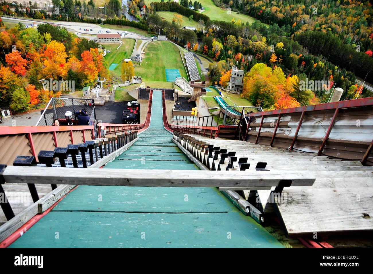 Una vista da Olympic ski jump gate in Lake Placid, New York, Stati Uniti d'America. Immagini Stock