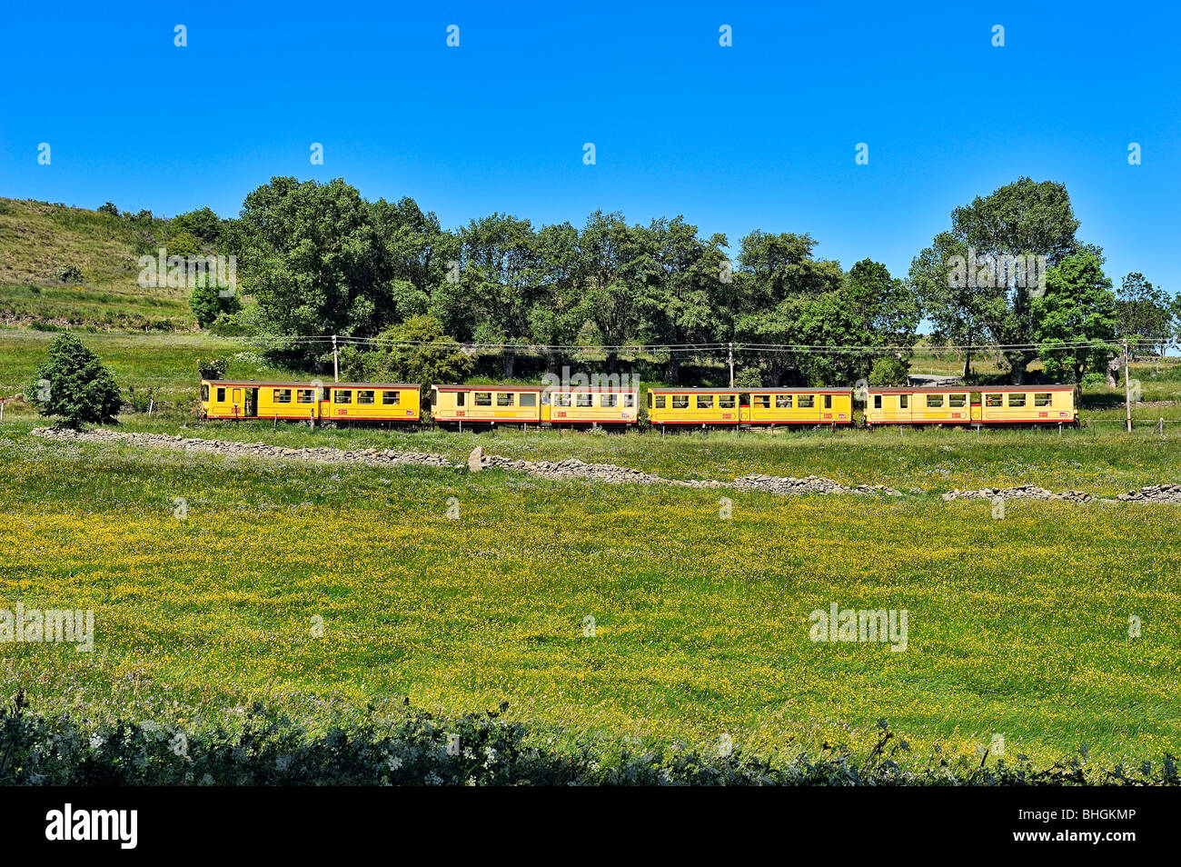 Treno jaune in Pyreneans montagne, Languedoc Roussillon, Francia. Immagini Stock