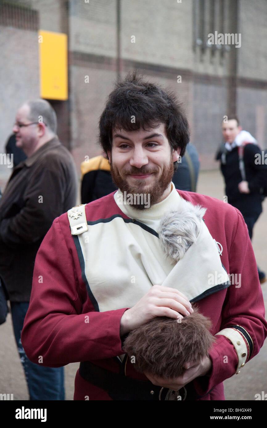 Star Trek fan di Londra per il record del mondo di la maggior parte delle quantità di persone vestite come Immagini Stock