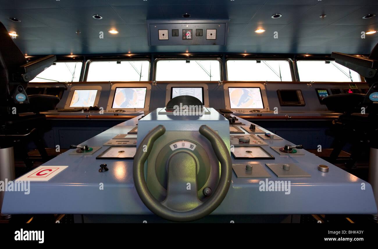 Un ponte su un traghetto. Immagini Stock