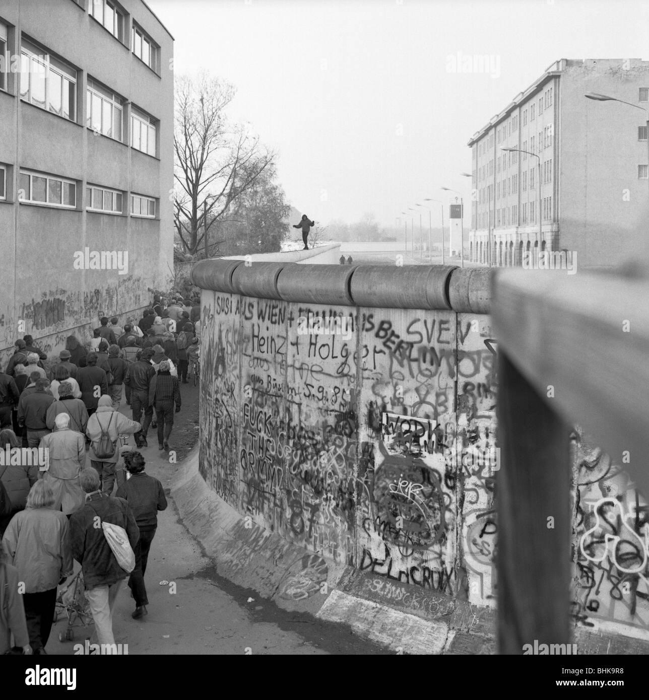 Caduta del muro di Berlino in 1989, Potsdamer Platz Immagini Stock
