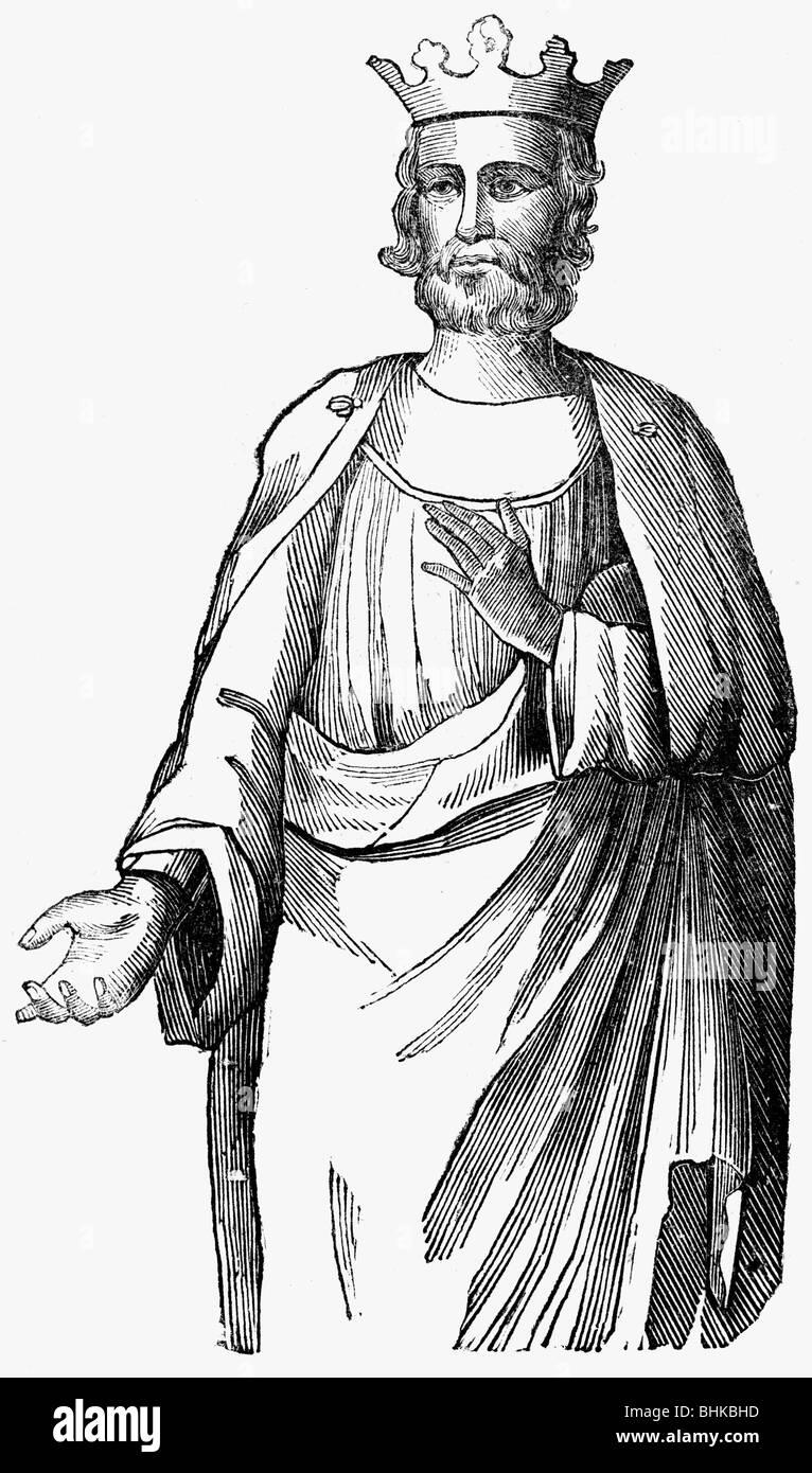 Louis III, circa 864 - 5.8.882, Re di Francia occidentale 879 - 882, a mezza lunghezza e incisione su legno, secolo Immagini Stock
