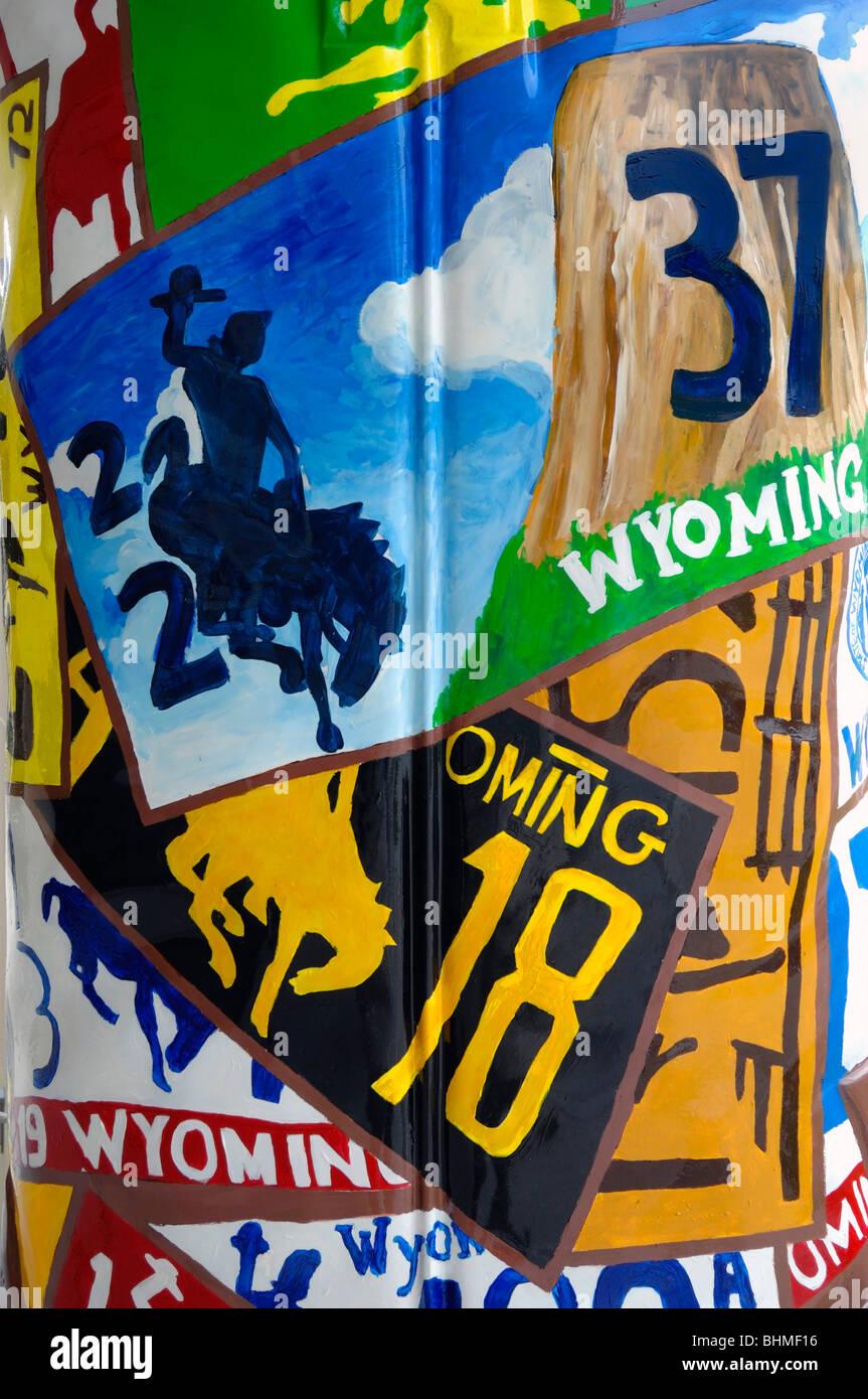 Immagini che rappresentano lo stato del Wyoming, nella città di Cheyenne, lo stato del Wyoming, Stati Uniti Immagini Stock