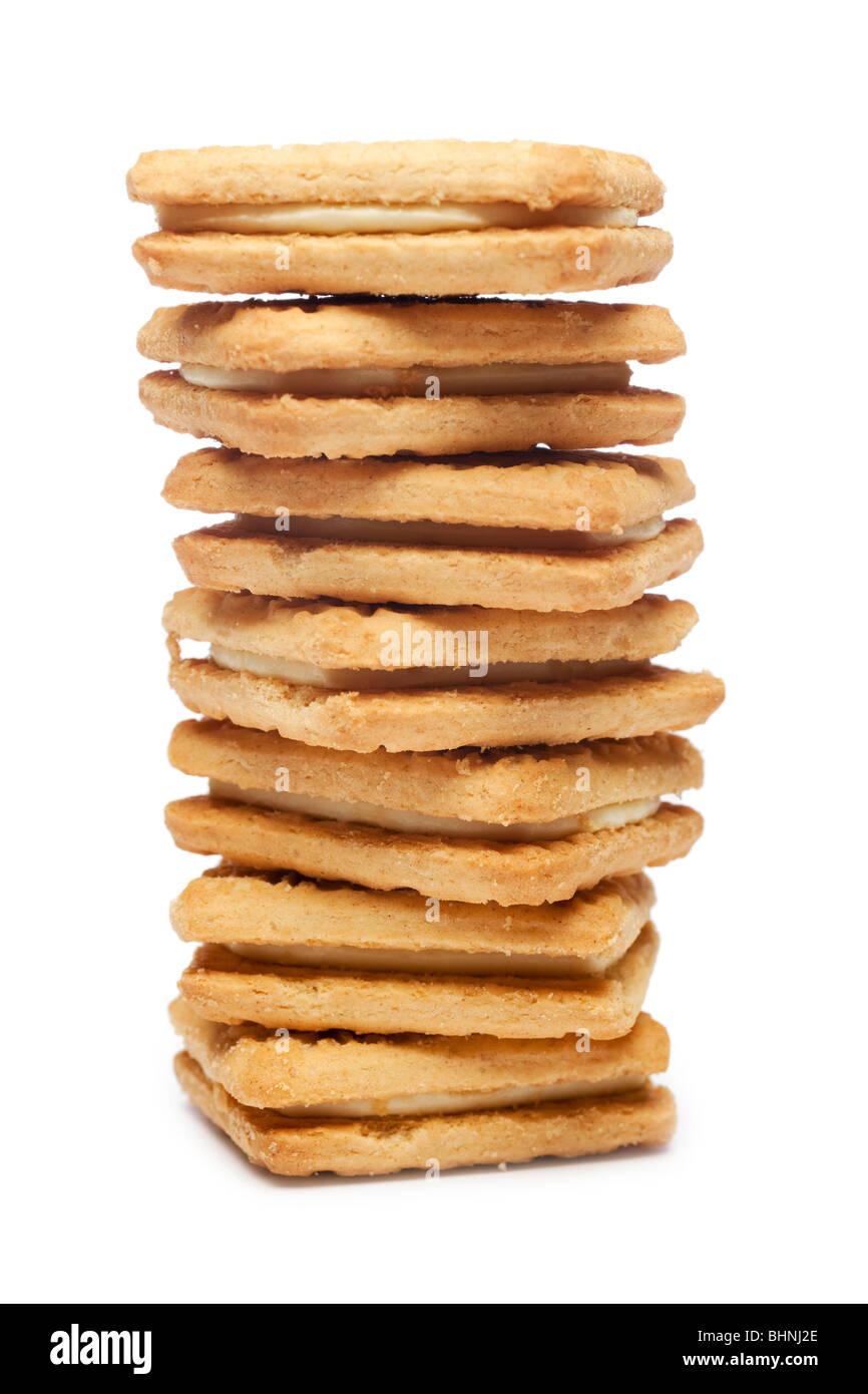 Pila di crema pasticcera biscotti Foto Stock