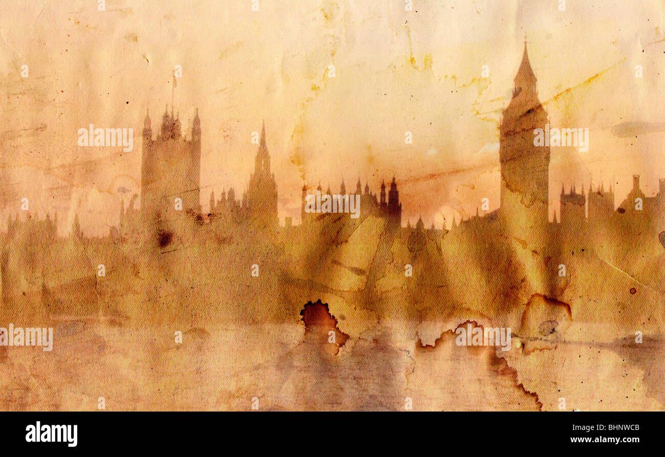 Panorama di Londra - Big Ben e torri di Westminster - in stile grunge Immagini Stock