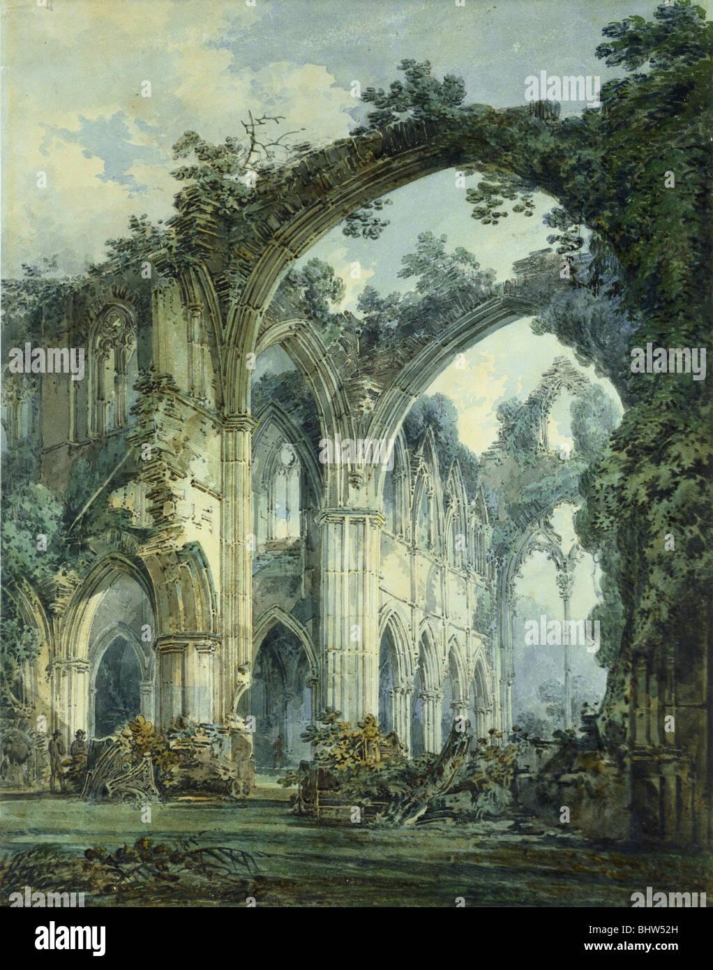 Interno del Tintern Abbey, da J.M.W. Turner. Inghilterra, secolo XIX Immagini Stock