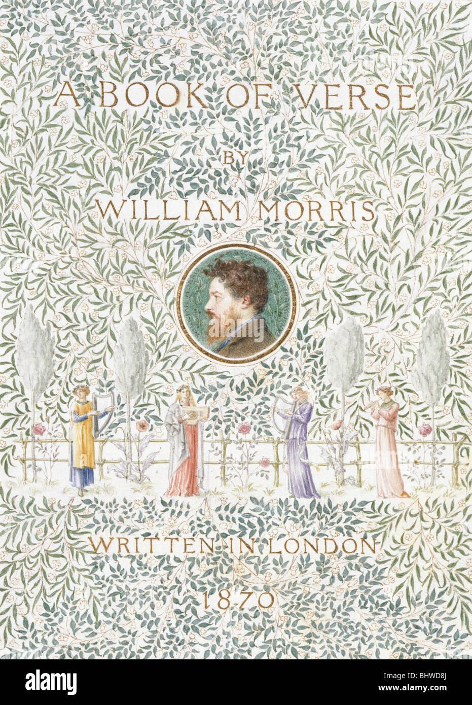 Pagina del titolo di un libro di versi, da William Morris. Londra, Inghilterra, 1870 Immagini Stock