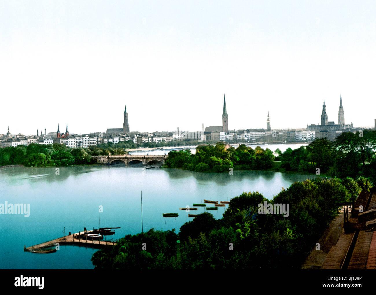 Lombardsbrücke Hamburg Immagini Stock