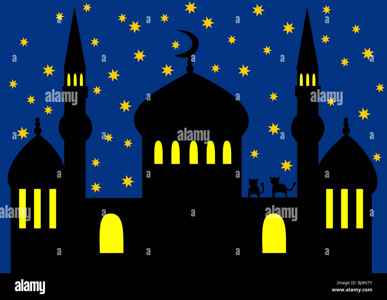 Illustrazione di una moschea Immagini Stock