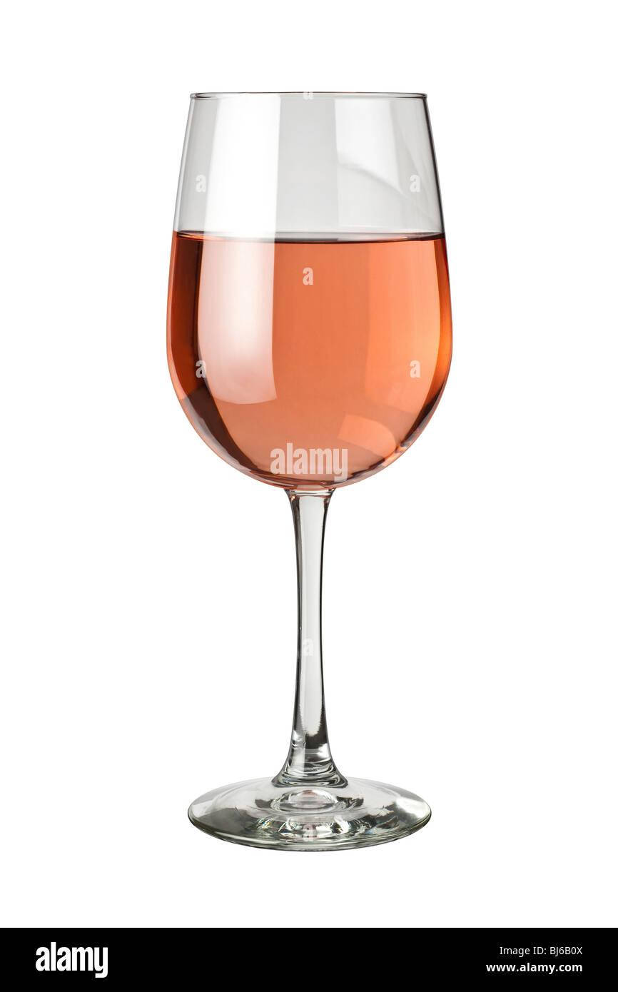 Bicchiere di white Zinfandel isolato su uno sfondo bianco Immagini Stock