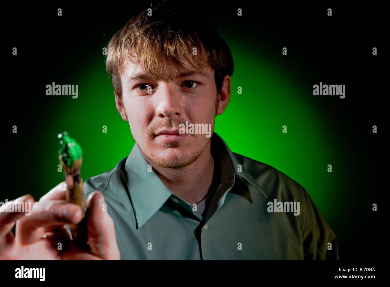 Pittore su verde Immagini Stock