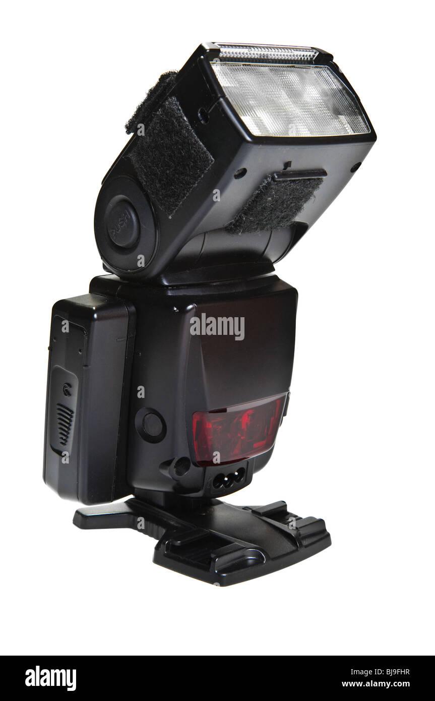 Esterno il flash della fotocamera isolato su bianco Immagini Stock
