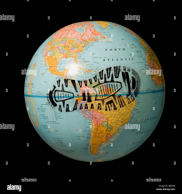 Impronta su un globo. Immagini Stock