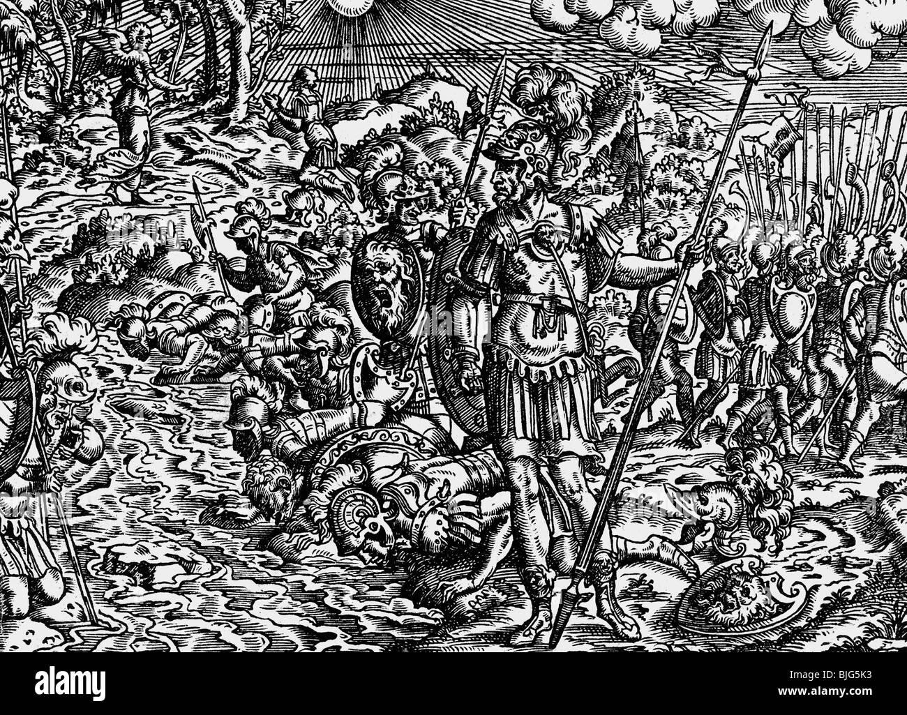 Belle arti, Amman, Jost (1539-1591), xilografia, 15.5 cm x 11 cm, illustrazione della Bibbia stampata da Sigmund Immagini Stock