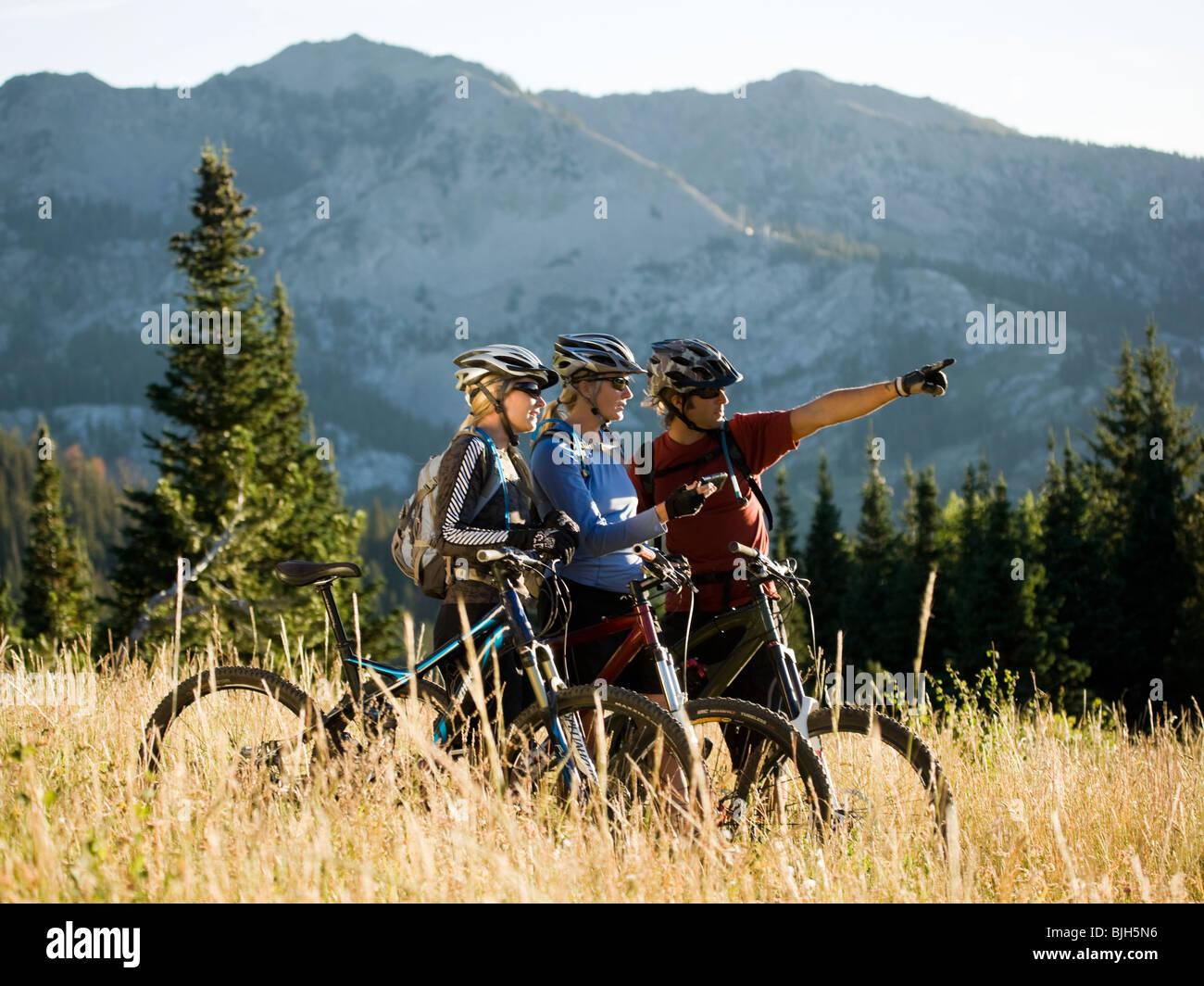 appassionati di mountain bike Immagini Stock