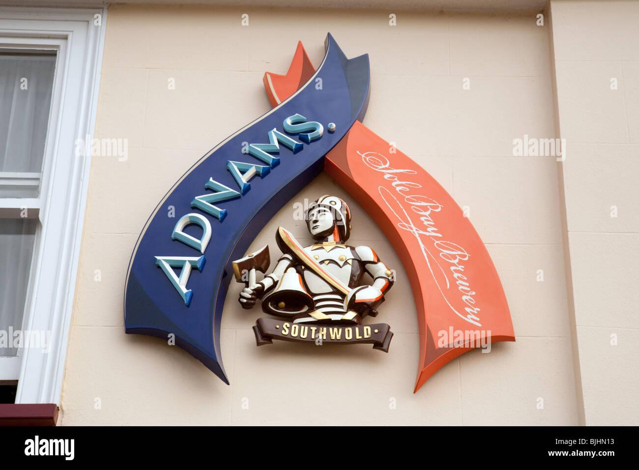 Il segno per Adnams suola Bay Brewery, Southwold, Suffolk, Regno Unito Immagini Stock