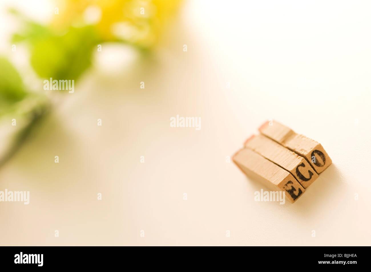 Timbri di gomma che scrivi la parola 'Eco' Foto Stock