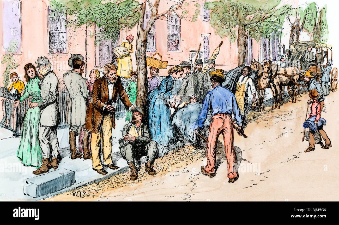 Soldati feriti dalla battaglia di sette pini portato in Richmond, Virginia, 1862. Colorate a mano la xilografia Immagini Stock