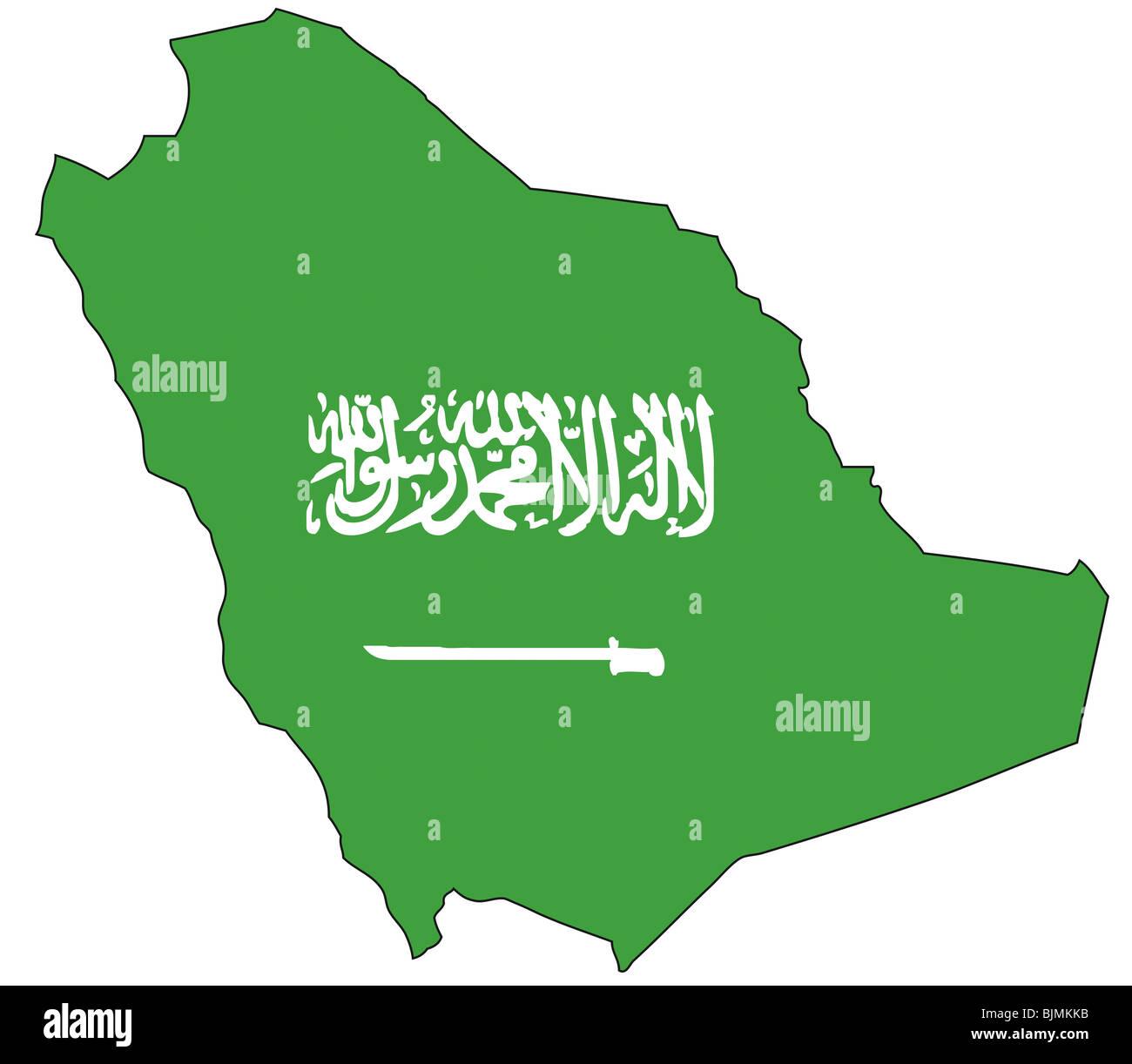 Arabia Saudita, bandiera, contorno Immagini Stock