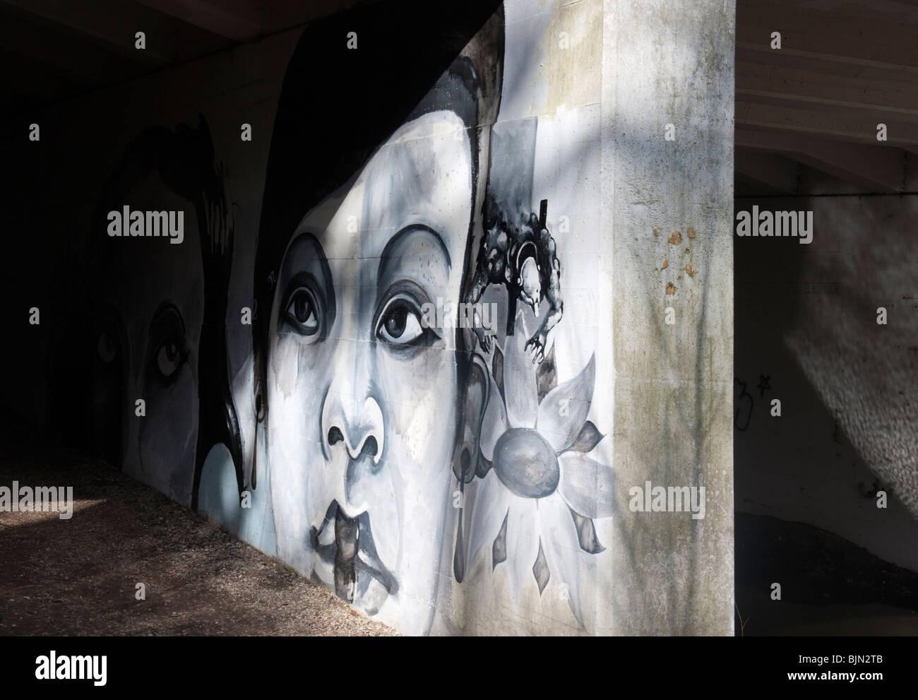 Graffiti su Deepcut Ponte sul Basingstoke Canal Immagini Stock