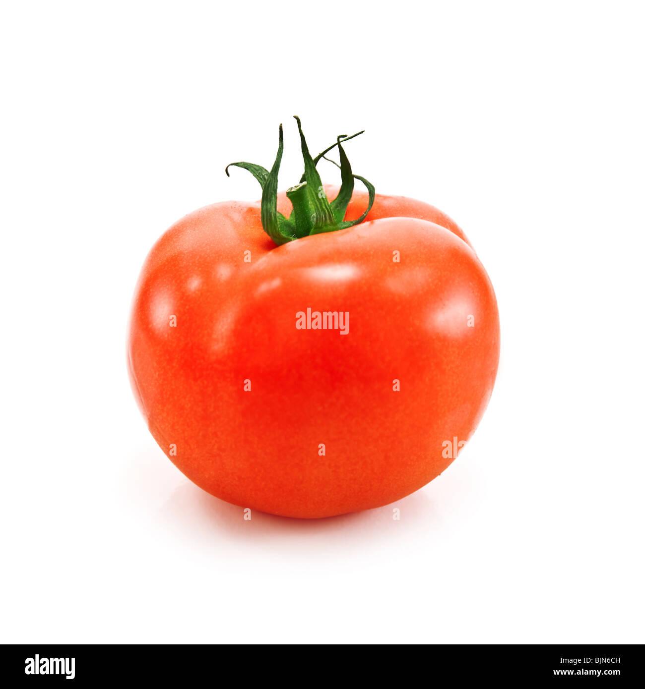 Pomodoro singolo isolato su bianco Immagini Stock