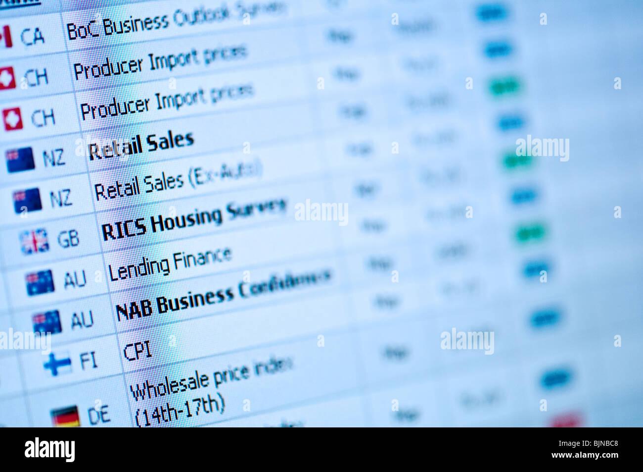 I dati aziendali e statistiche Immagini Stock