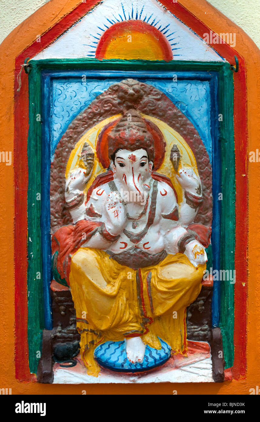 Tempio indù dettaglio, Candolim, Goa, India Immagini Stock